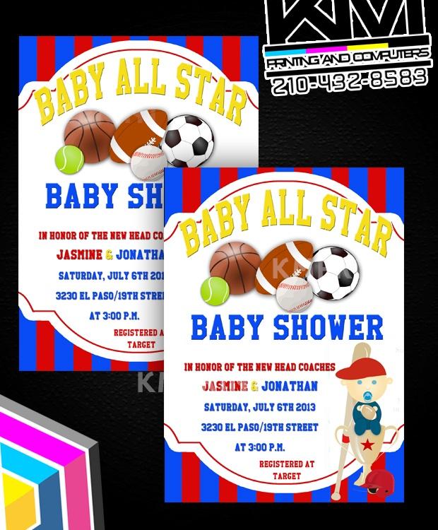 all star sports baby shower invitations trish 39 s sports baby shower
