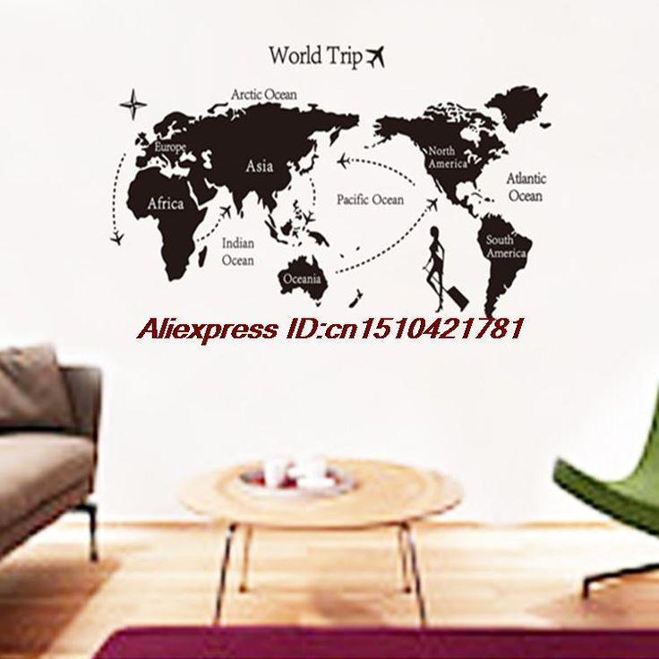 Карта мира мультфильм на стене гостиная диван JM7225 тв установка стены украшение стикеров стены спальни