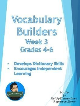 Vocabulary+Builders+Skills+Week+3+(Tests+Included)Eric's+Elementary+Resource+Store+Each+week,+your+students+will+be+exposed+to+20+vocabulary+words+that+are+synonyms+for+words+they+use+every+day.++Each+week,+similar+words+start+to+repeat+and+the+students'+vocabulary+will+begin+to+build.