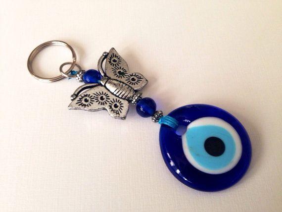Evil Eye Keychain Evil Eye Butterfly Greek by CreativeShopIdeas