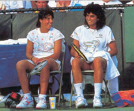 Cute Doubles Team - Jennifer Capriati (left) and Sabatini enjoy a light moment around 1991. Jennifer and Sabatini occasionally played doubles together in the early 1990's, but both ladies are known much more for their success in singles play.