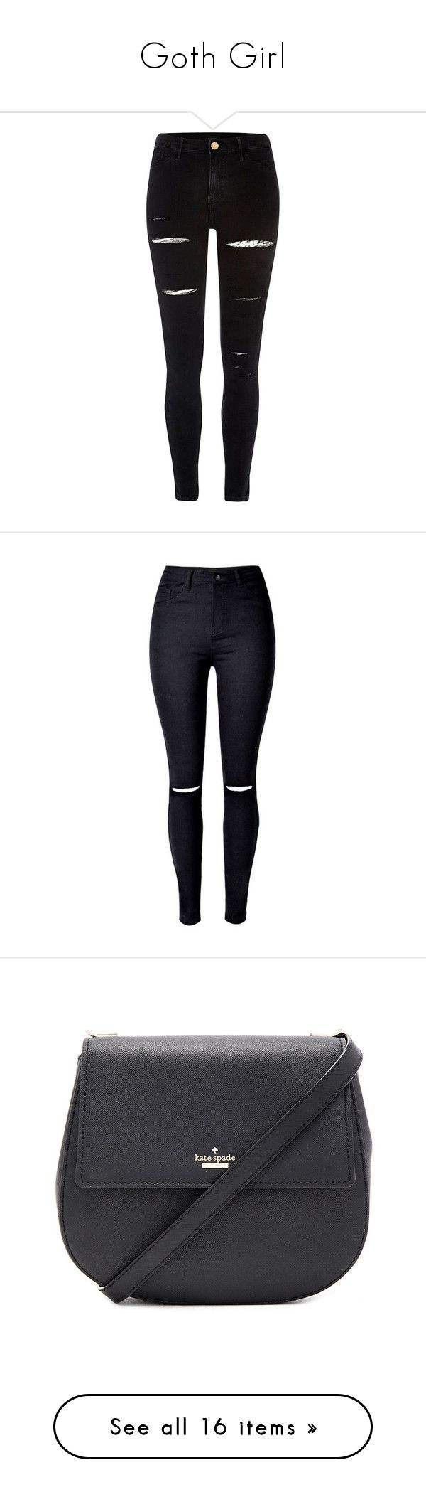 """""""Goth Girl"""" by sapphire96-cclxv ❤ liked on Polyvore featuring pants, jeans, bottoms, calças, black, jeggings, women, tall pants, denim jeggings and distressed denim pants"""
