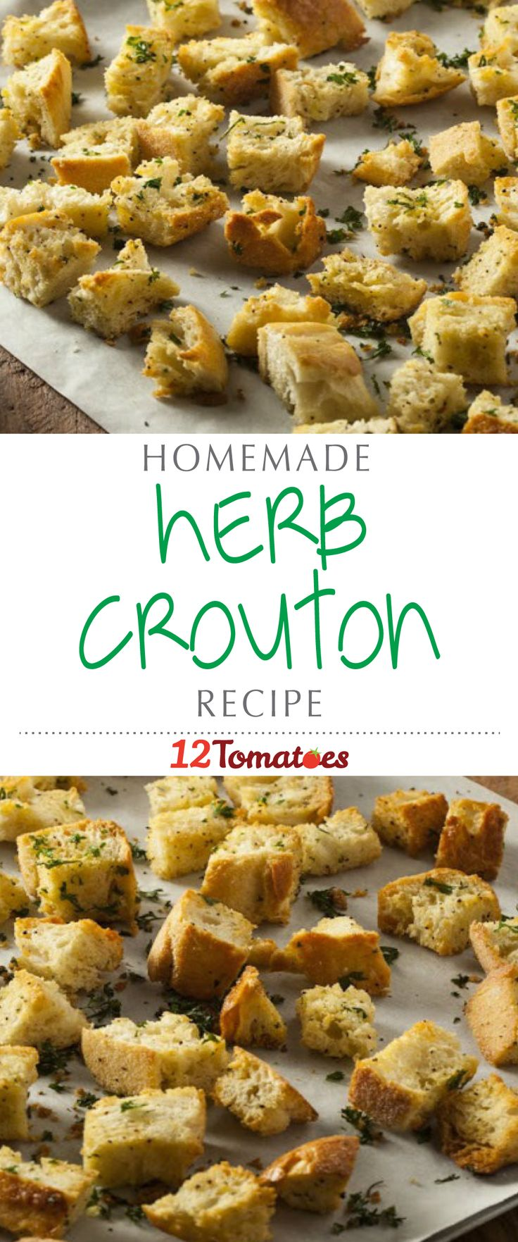 Homemade Croutons | These crispy bites add a delightful crunch and texture to your favorite soups and salads, and they use day-old French bread, which is a great use of leftover bread from dinner.