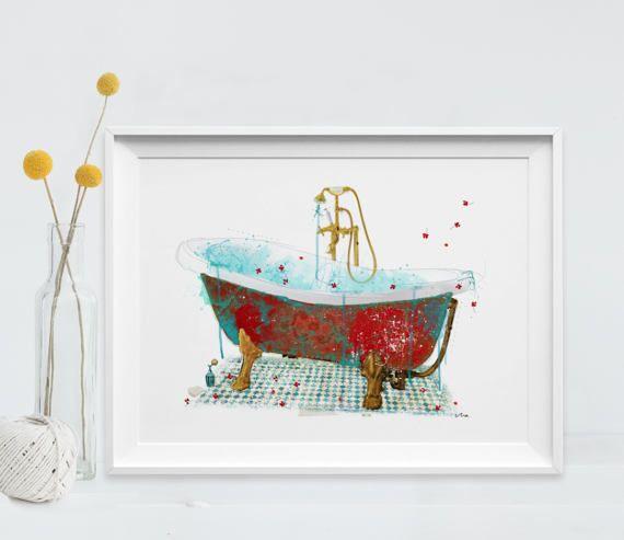Bath Art Print Vintage Bathroom decor painting by LibelulaAzul
