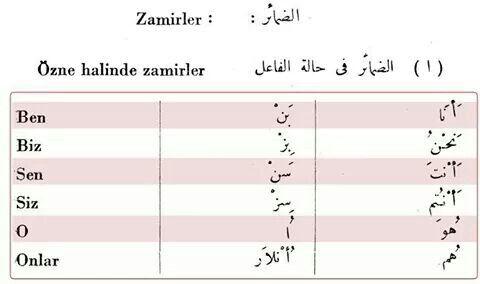 Zamirler : الضمائر