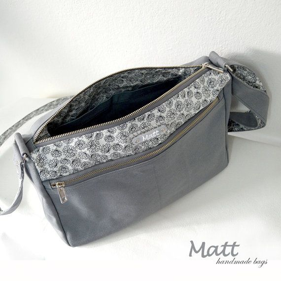 Grey messenger canvas bag Cross body bag full lining by MATTBAGS
