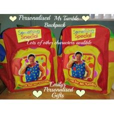 Lovely and Personalised Mr Tumble spotty backpack £9.50 plus p+p (Personalised with fabric paint and covered in a fixing solution)