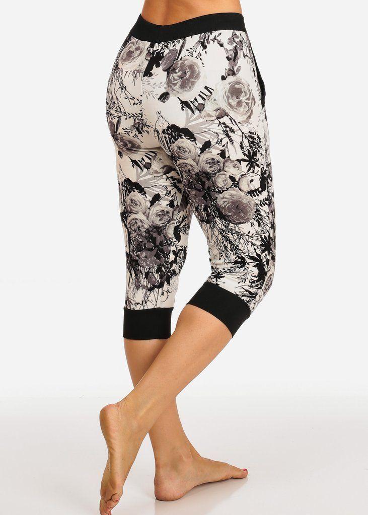 Saga Black White Pattern Capri Joggers Joggers Womens Style