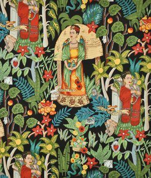 Alexander Henry Fridas Garden Black Fabric - $9.2 | onlinefabricstore.net
