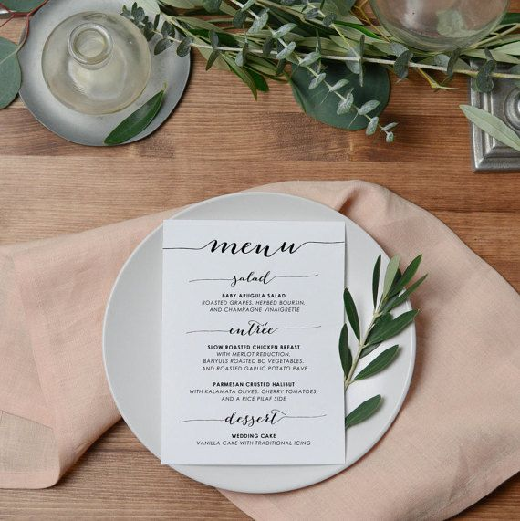 Rustic Wedding Menu Cards Wedding Place by KarlyKDesignShop