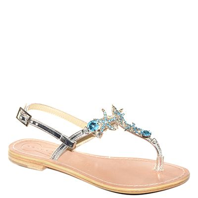 #Sandalo fondo cuoio realizzato in pelle laminata argento con accessori acquamarina in rilievo di #Suite159  http://www.tentazioneshop.it/scarpe-suite-159/sandalo-s14262-turchese-suite159.html