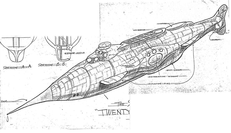 """The initial plan was to produce _20,000 Leagues Under the Sea_ as an animated film. Walt Disney reportedly wanted a _Nautilus_ designed like an aluminum cigar tube, streamlined and futuristic ('futuristic', at least from a 1950s perspective). The exterior rendering [above] appears to be the earliest surviving concept committed to paper, and it may have been intended for the animated version."" — orzel-w, ""Progressing of the Nautilus Design"", nautilussubmarine.com/ #nautilus"