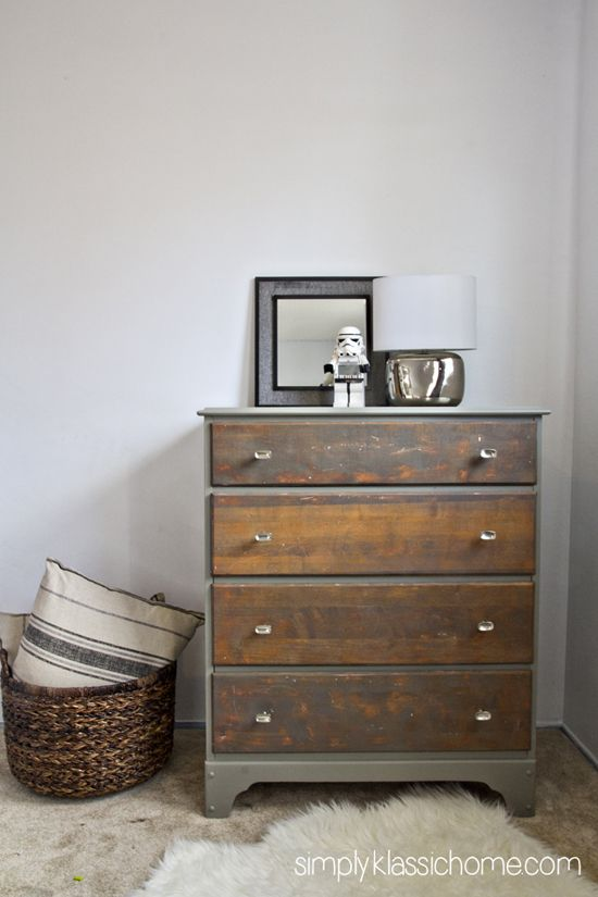 "Pinned for the color of the drawers. She ""rubbed on Minwax stain in Weathered Grey, and wiped it off immediately"" - Two Toned Painted & Stained Dresser"