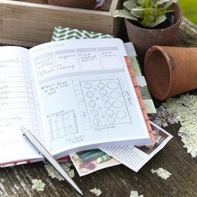 Een notitieboekje voor het noteren van notities en ideeën voor de tuin en voor het bewaren van belangrijke knipsels.