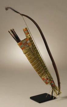 Native American:Weapons, Sioux Miniature Bow Case and Quiver. Circa 1865. Length of bow case12 in.; Length of quiver 9 in.; Length of bow 16...