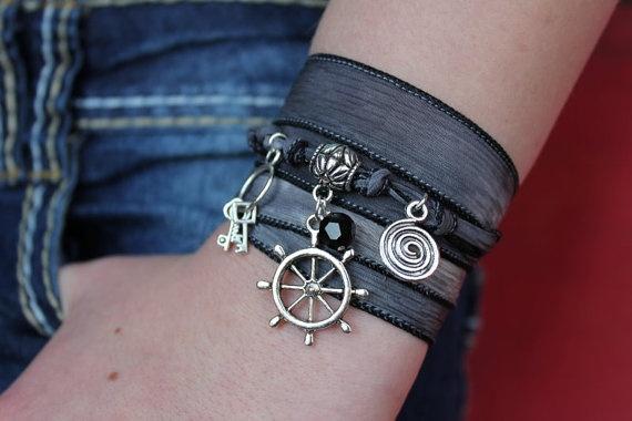 The Pirate Bracelet - Hand Dyed Silk Ribbon Wrap Bracelet