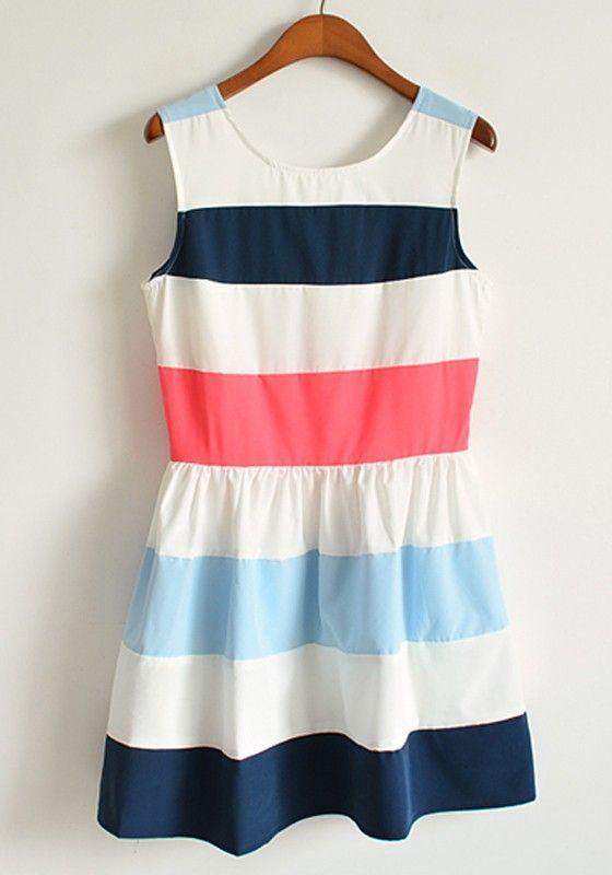 Blue Striped Round Neck Sleeveless Mini Dacron Dress