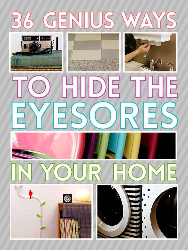 36 ways to hide/camouflage the ugly stuff in your house (a few of these interest me, & they link to tutorials/instructions)