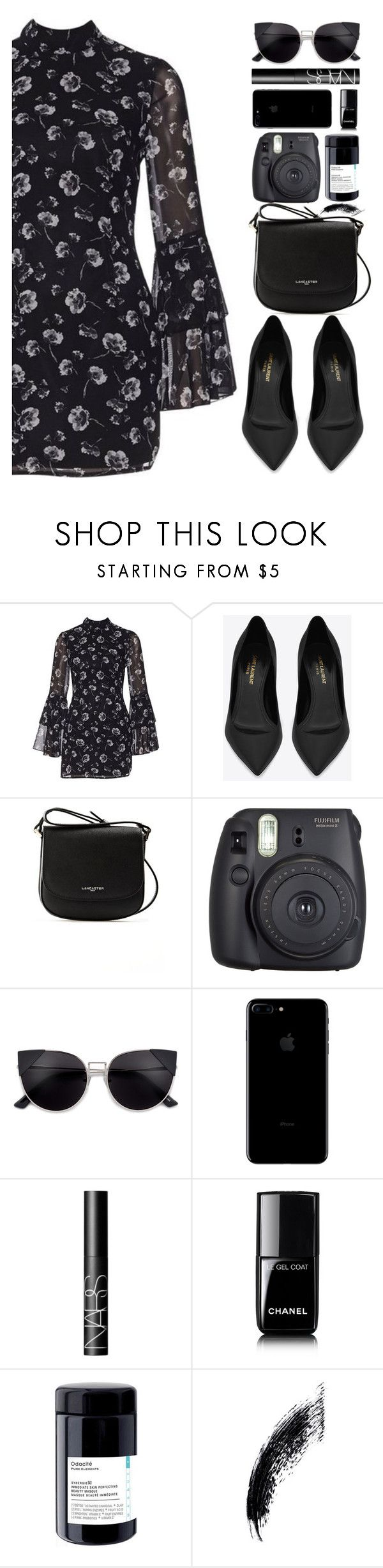 """""""Untitled #498"""" by cherryprincessannie ❤ liked on Polyvore featuring Yves Saint Laurent, Lancaster, Fuji, NARS Cosmetics and Chanel"""