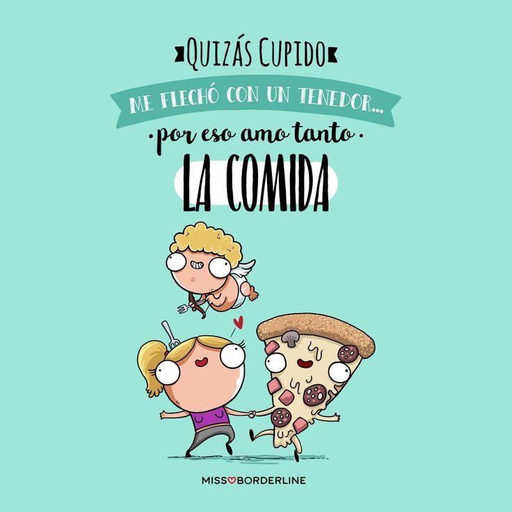 Quizás Cupido me flechó con un tenedor... por eso amo tanto la comida. #humor #funny #divertidas #graciosas
