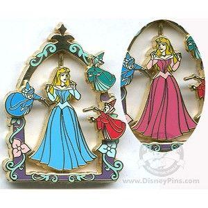 Disney Princess Pin - Princess Aurora - Pink or Blue Dress Spinner