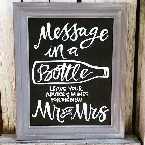 Custom Message in a Bottle Wedding Chalkboard by SaltCitySigns