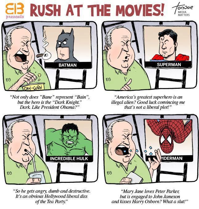 Batman isn't the only superhero Rush Limbaugh has a problem with
