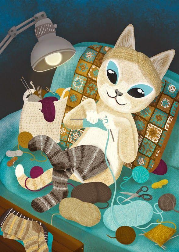 Knitting cat postcard. Meni lankaan -joulukortti. Jonna Markkula