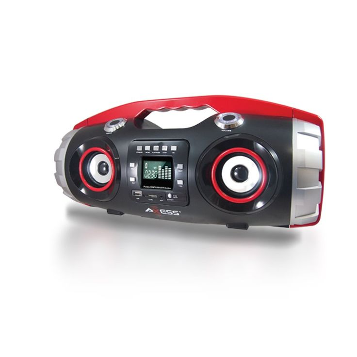 AXESS PBBT2709 Portable Bluetooth FM Radio/CD/MP3/USB/SD Heavy Bass Boombox (Red)