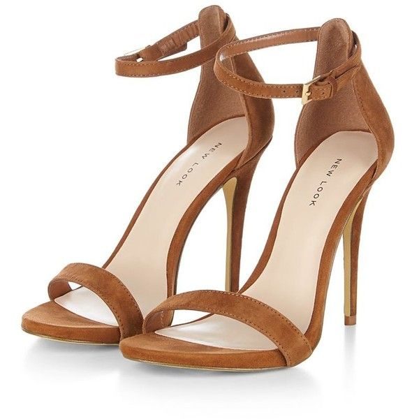 Brown Suede Ankle Strap Heels ($55) ❤ liked on Polyvore featuring shoes, pumps, brown suede pumps, ankle wrap pumps, suede shoes, open-toe pumps and open toe shoes
