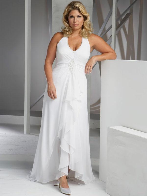 Discount Plus Size Sheath Column white Beading Chiffon Sleeveness Halter Sweep Train Zipper Up Beach Wedding Dresses Dresses BEACHWCA168 [BeachWeddingDresses0168] - US $180.00 : BeachWeddingDress