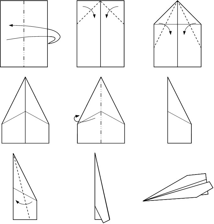 Instructions for a traditional paper plane.