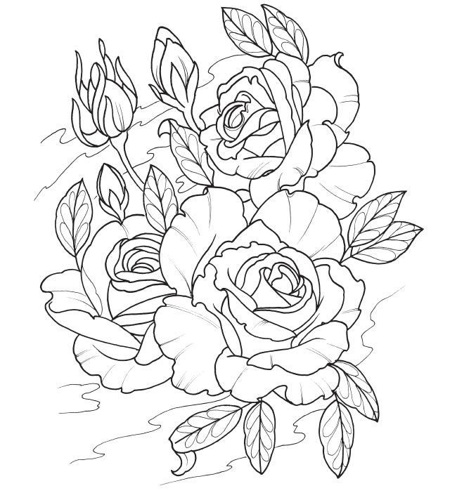 Tattoo Line Drawing Books : Best images about coloring pages flowers on pinterest