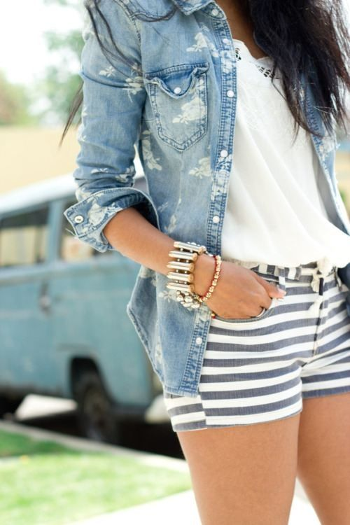 Fashion, Summeroutfit, Summer Outfit, Style, Jeans Jackets, Denim Shirts, Denim Shorts, Summer Clothing, Stripes Shorts