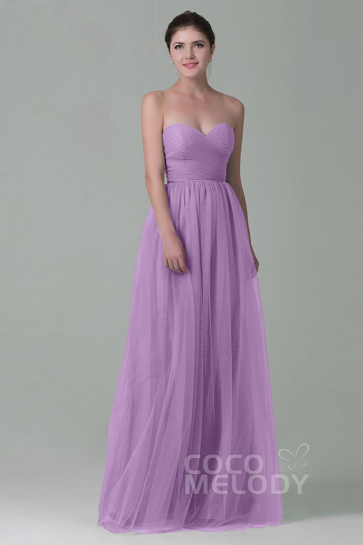 Luxurious Sheath Sweetheart Natural Floor Length Tulle Sleeveless Zipper Bridesmaid Dress with Pleating COZF1500E #bridesmaiddresses #cocomelody #bridesmaids #customdresses #lilacdresses