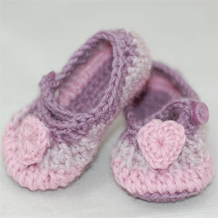 Baby Shoes, Crochet, Ballet Shoes, Booties, Pink and Purple Heart Shoes. | Off My Hook | madeit.com.au