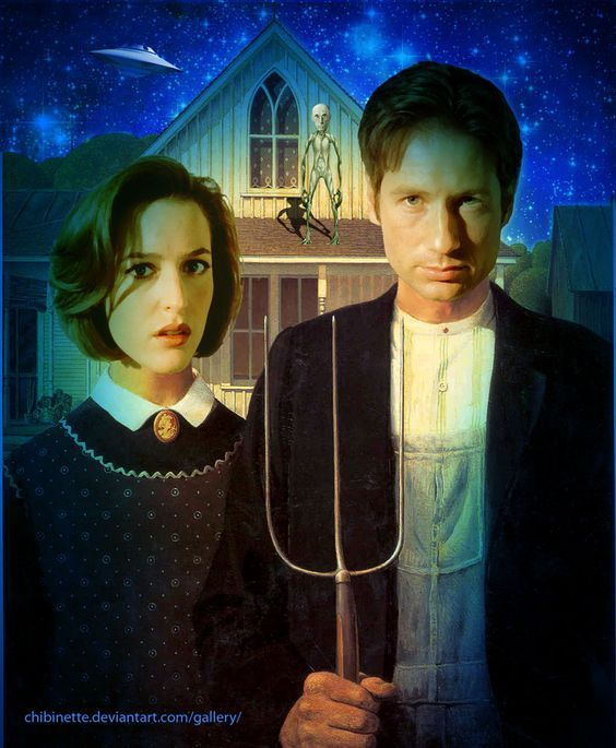 American Gothic, Grant Wood, X-files, Mulder, Scully, Parody