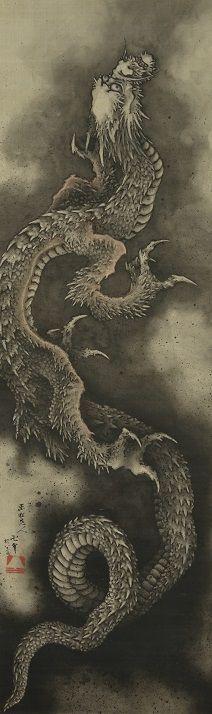 "Katsushika Hokusai's famous ' climbing Dragon figure ""William Bigelow collection, Boston Museum of fine arts."