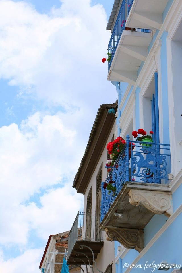 Balcony of a houses opposite the port; photo from Nafplio, Argolis Region