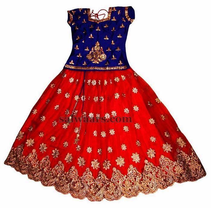 Flowers Design Orange Skirt | Indian Dresses