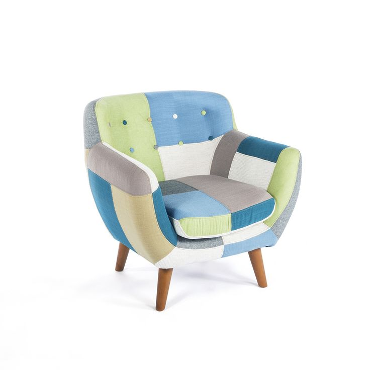 Mid-Century Modern Neria Patchwork Lounge Chair - Classic mid-century modern design gets a fun twist with this fun patchwork lounge chair. The solid ash wood frame and tapered legs keep things sturdy while sticking to the mid-century aesthetic. The bold design is accentuated by the bright patchwork upholstery that covers the thick padded cushioning. Multicolor buttons along the back add even more flair.