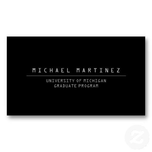 University College Student Black Business Card