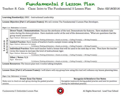 Lead Your School: The Fundamental 5 Lesson Plan Developer More