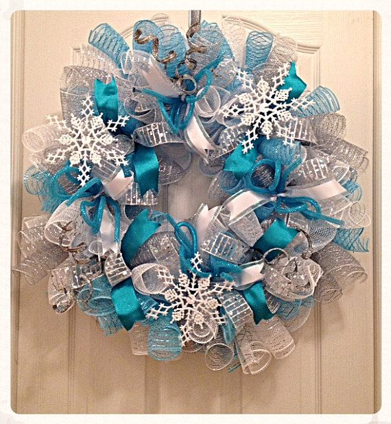 Snowflake Turquoise and Silver Deco Mesh Wreath/Snowflake Wreath/Turquoise and Silver Wreath/Christmas Wreath