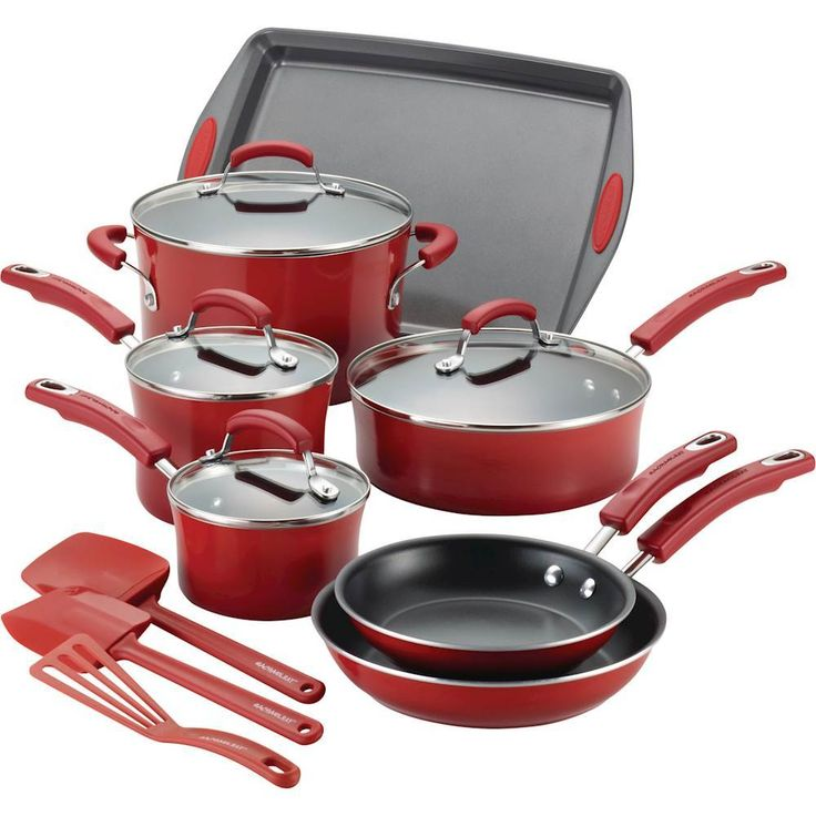 Rachael Ray - 14-Piece Cookware Set - Red