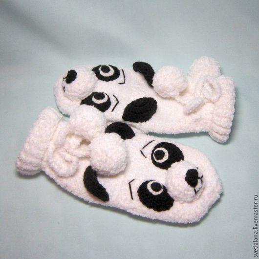 Варежки, митенки, перчатки ручной работы. Ярмарка Мастеров - ручная работа. Купить Варежки - панда (на заказ). Handmade.