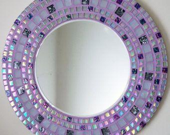 Mosaico hecho a mano hermoso espejo biselado borde liláceo Azulejo mosaico de vidrio