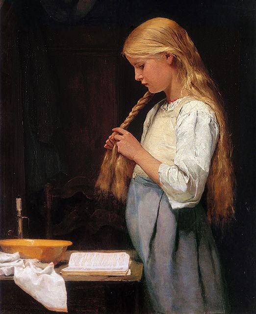 Albert Anker Girl Braiding Her Hair (and reading ;) 1887 by Plum leaves, via Flickr