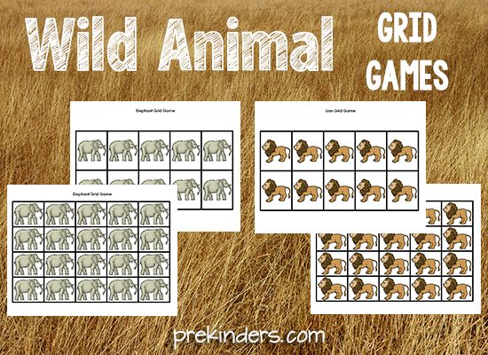 FREE Printable Wild Animal Grid Games
