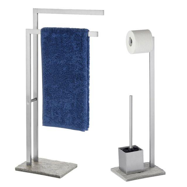 Stojak na ręczniki, papier toaletowy i szczotkę do wc GRANITE - elegancki zestaw do ekskluzywnej łazienki